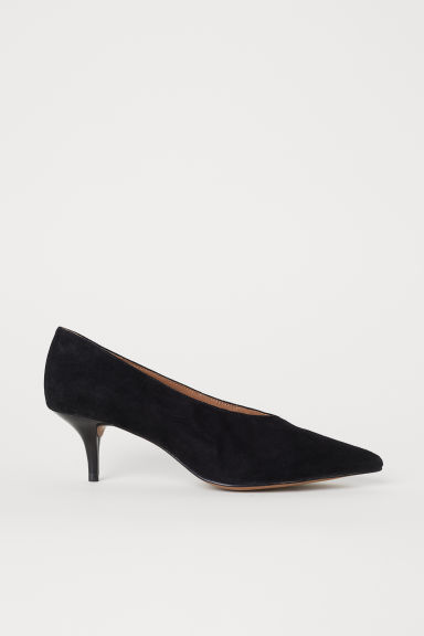 Suede court shoes - Black - Ladies | H&M CN