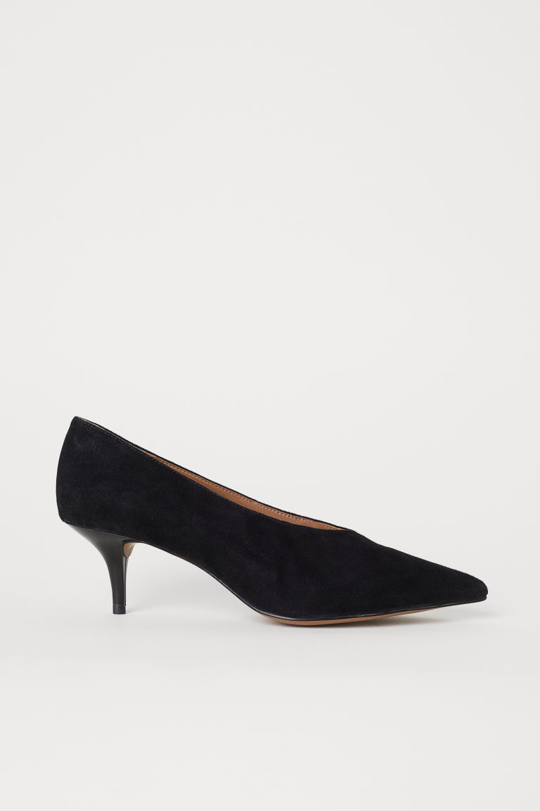 Suede court shoes - Black - Ladies | H&M