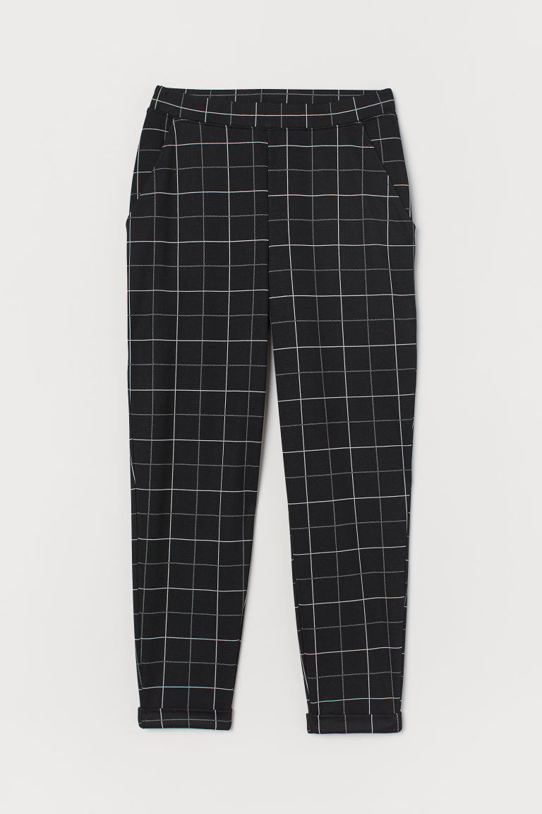 Ankle-length pull-on trousers - Black/Checked - Ladies | H&M IN
