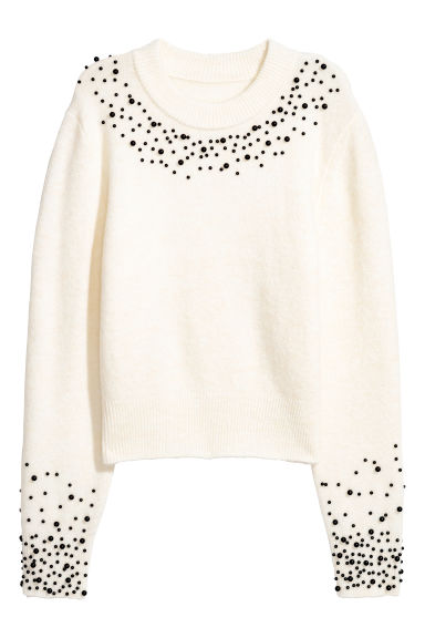 Jumper with beaded embroidery - White -  | H&M GB