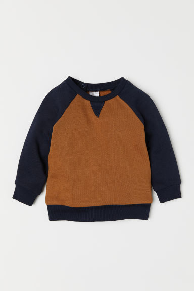 Cotton sweatshirt - Brown/Dark blue - Kids | H&M CN