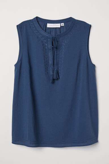 Embroidered blouse - Blue - Ladies | H&M