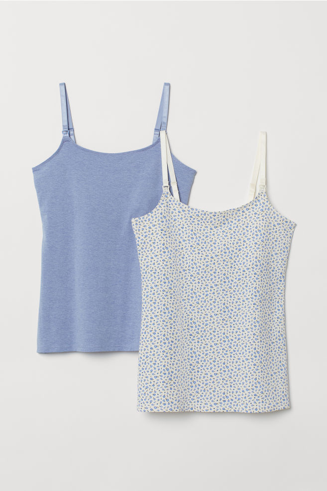 2626642530e8b MAMA 2-pack Nursing Tank Tops - Light blue melange floral - Ladies ...
