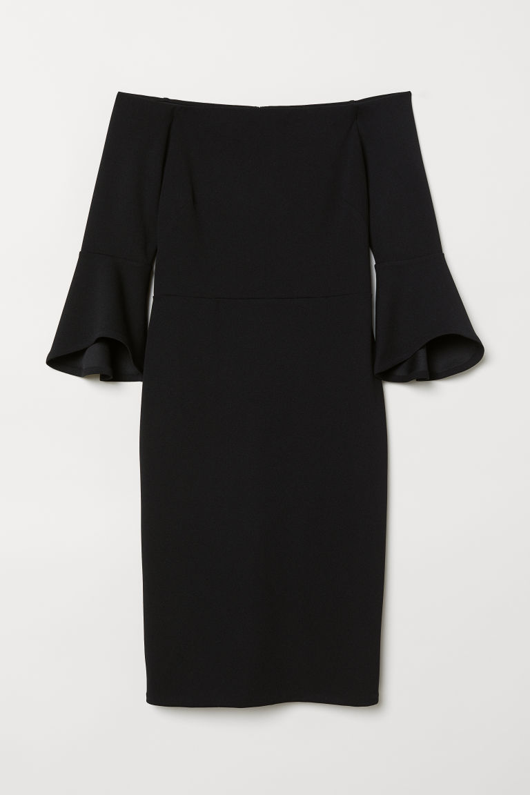 Off-the-shoulder dress - Black - Ladies | H&M