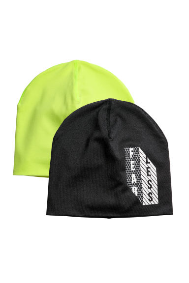 2-pack reversible hats - Black/Neon yellow - Kids | H&M CN