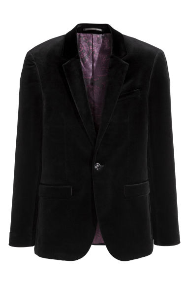 Fluwelen blazer - Slim fit - Zwart -  | H&M BE