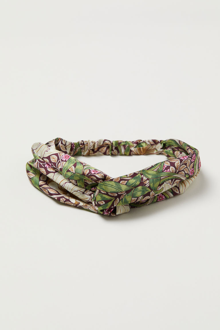 Hairband with a knot-detail - Dark red/Floral - Ladies | H&M CN