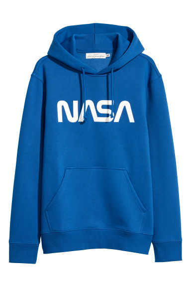 Hooded top with a motif - Bright blue/NASA - Men | H&M GB