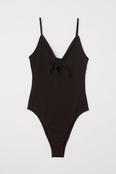 Tricot body met V-hals - Zwart - DAMES | H&M BE