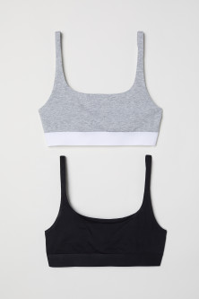 2-pack cotton bra tops