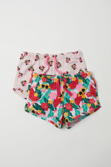 2-pack cotton shorts - Light pink/Minnie Mouse - Kids | H&M