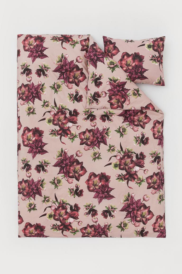 parure de couette rose ancien fleuri home h m ch. Black Bedroom Furniture Sets. Home Design Ideas