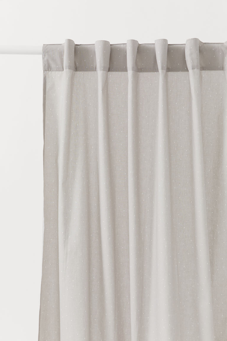 Patterned Curtain Panel - Light gray/dotted - Home All | H&M CA