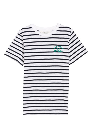 T-shirt color block - Blanc/noir/rayé -  | H&M FR