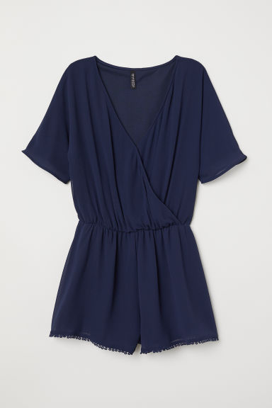 V-neck playsuit - Dark blue -  | H&M