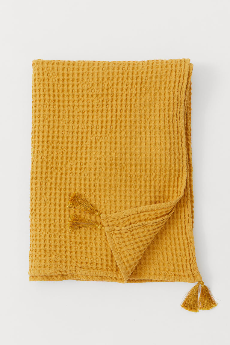 Waffled cotton blanket - Mustard yellow - Home All | H&M GB