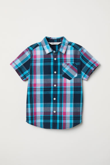 Cotton shirt - Turquoise/Checked - Kids | H&M