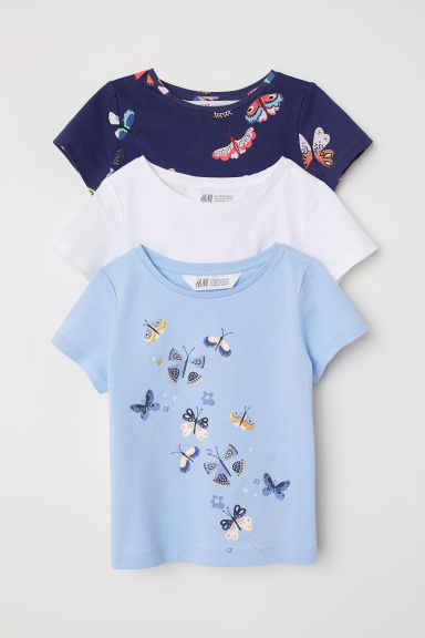 3-pack jersey tops - Blue/Butterflies - Kids | H&M
