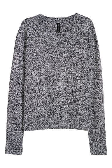 Knitted jumper - Black/White marl -  | H&M IE