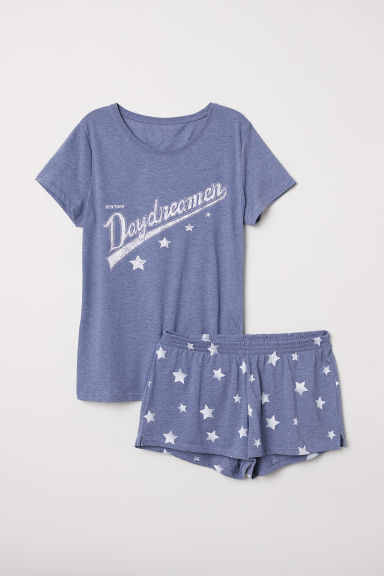 Pyjama top and shorts - Blue/Daydreamer -  | H&M