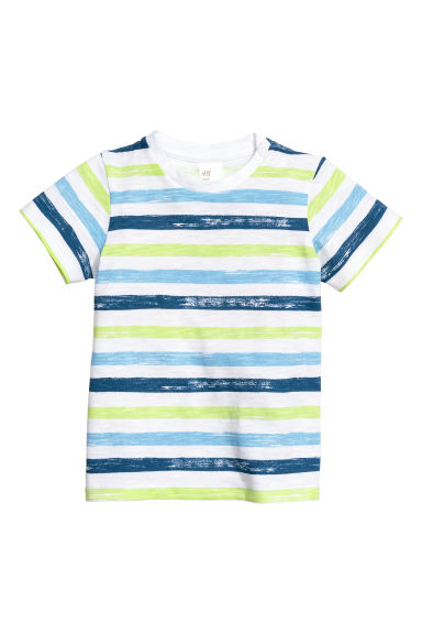 Cotton T-shirt - Blue/Striped -  | H&M