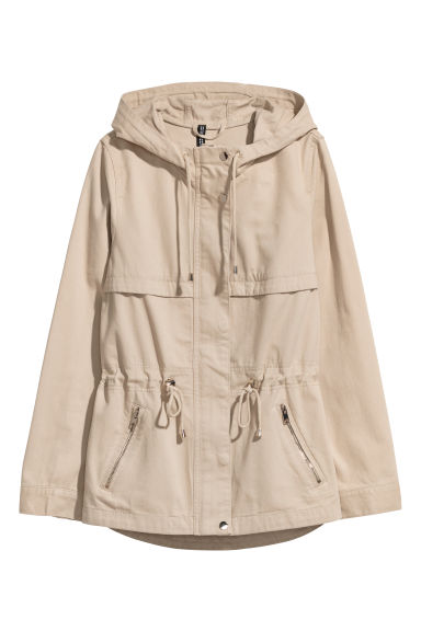 Short Parka with Hood - Light beige -  | H&M US