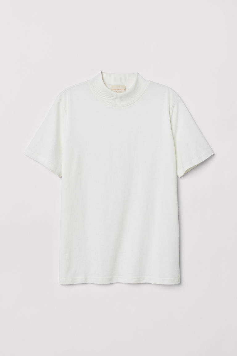 Silk-blend T-shirt - White - Ladies | H&M CN
