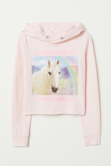 Short hooded top - Pink/Unicorn - Kids | H&M