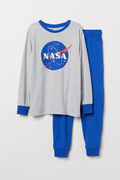 Jersey pyjamas - Light grey marl/NASA - Kids | H&M CN
