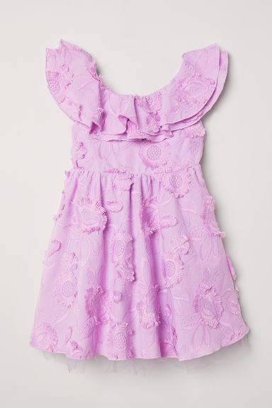 Dress with embroidery - Light purple - Kids | H&M CN