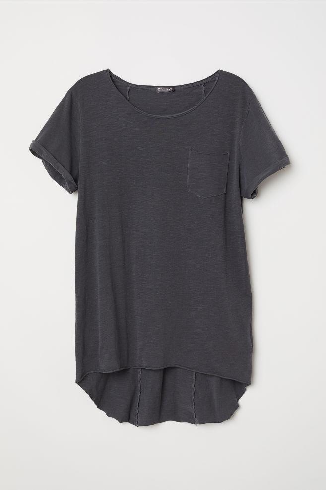 96b28364b3cf Long T-shirt - Dark gray - Men | H&M ...