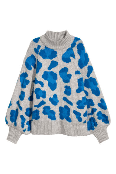 Knitted jumper - Light grey/Leopard print - Ladies | H&M
