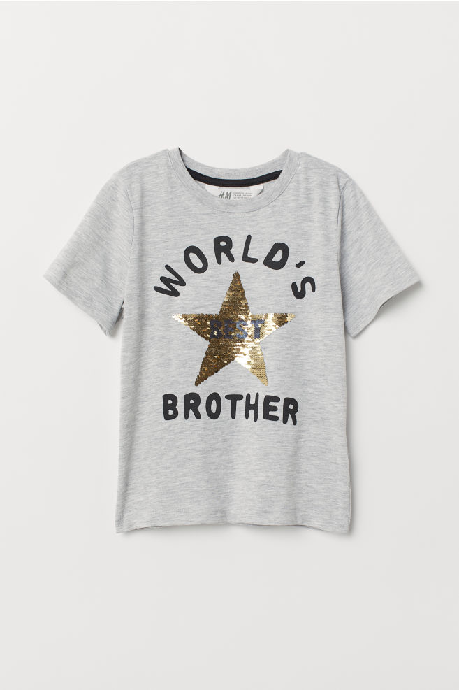 c060a88d2 Reversible sequin T-shirt - Light grey marl/Brother - Kids | H&M IN