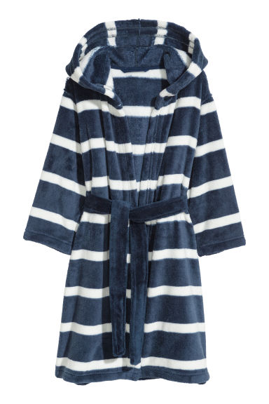 Fleece badjas - Donkerblauw/wit gestreept -  | H&M BE
