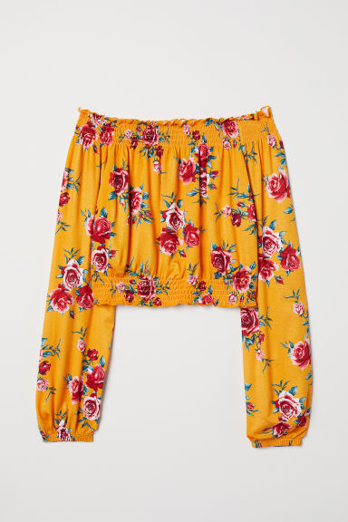 Off-the-shoulder top - Yellow/Floral -  | H&M CN