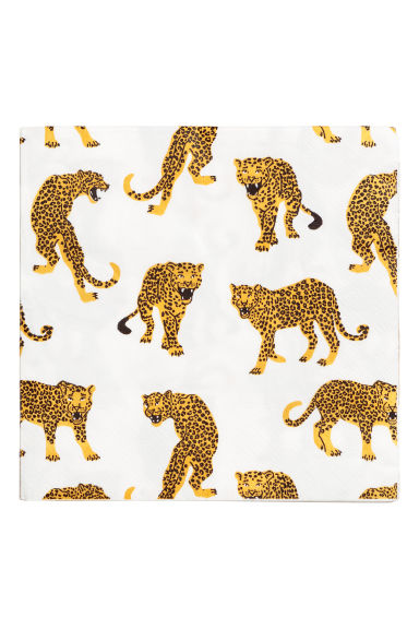 Paper napkins - White/Leopard - Home All | H&M CN