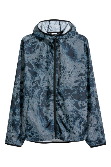 Hooded sports jacket - Dark blue/Patterned -  | H&M CN