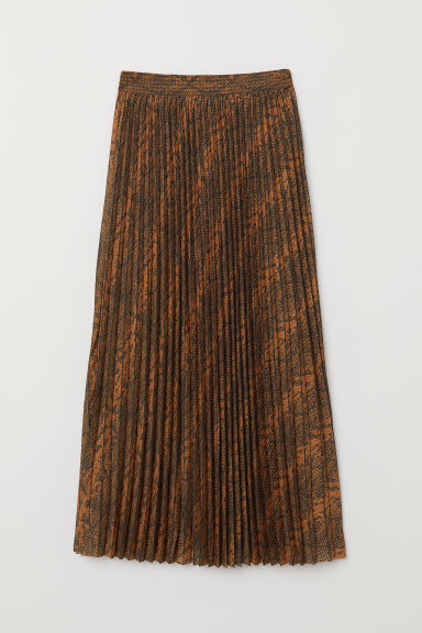 Pleated skirt - Brown/Snakeskin-patterned - Ladies | H&M CN