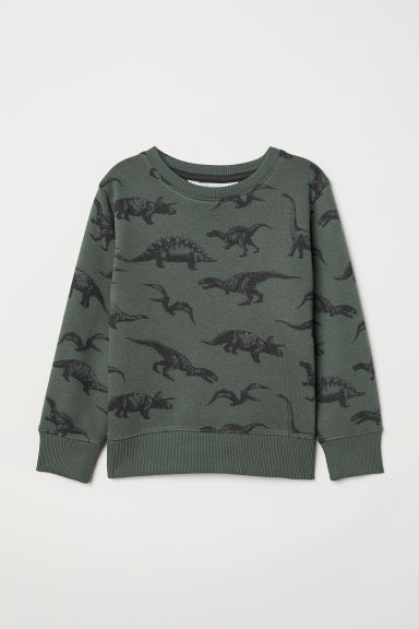 Sweatshirt - Dark green/Dinosaurs - Kids | H&M CN