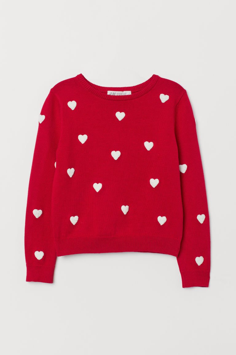 Fine-knit Sweater - Red/hearts - Kids | H&M US