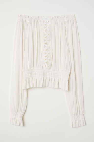 Blouse with a wide neckline - White -  | H&M