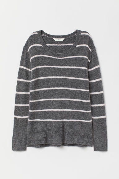 Knitted jumper - Dark grey/Pink striped - Ladies | H&M
