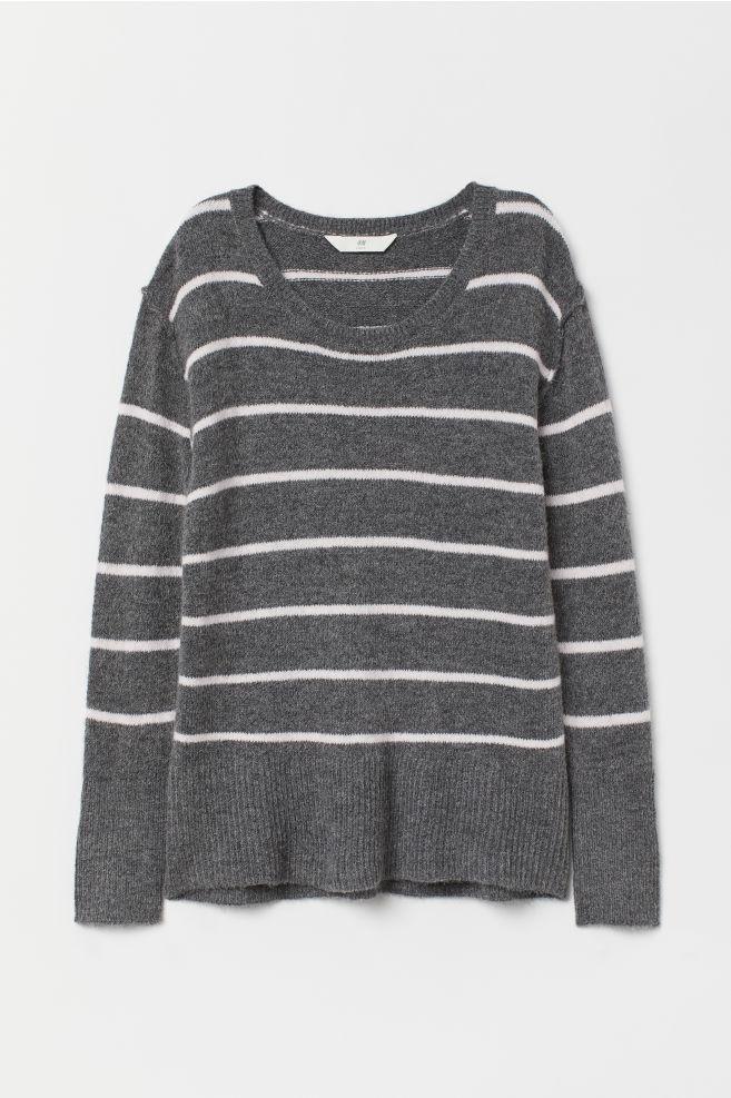 5ca7a2a00d88 Pullover in maglia - Grigio scuro rosa righe - DONNA