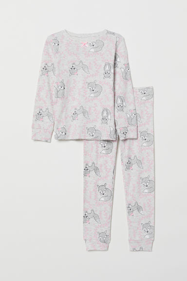 Jersey pyjamas - Light grey marl/Foxes - Kids | H&M