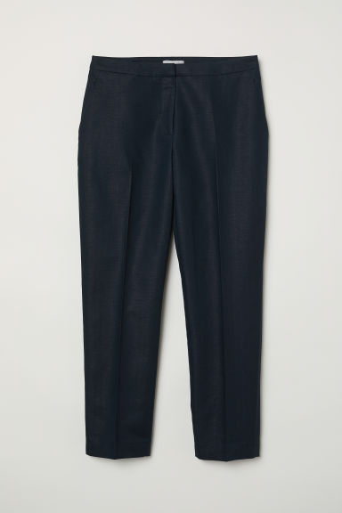 Linen-blend suit trousers - Dark blue - Ladies | H&M CN