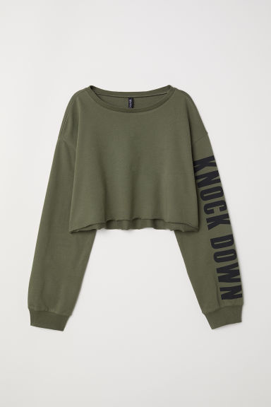 Korte sweater - Kakigroen/Knock down - DAMES | H&M BE