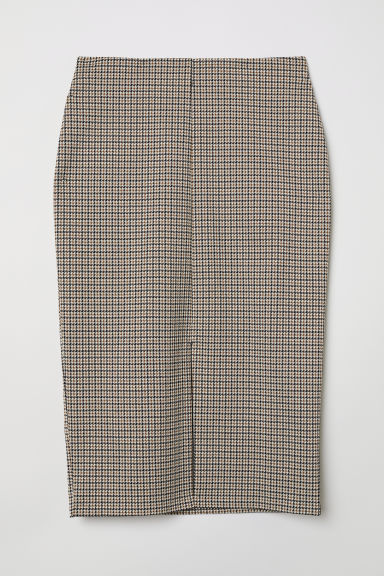 Pencil skirt - Beige/Dogtooth-patterned - Ladies | H&M