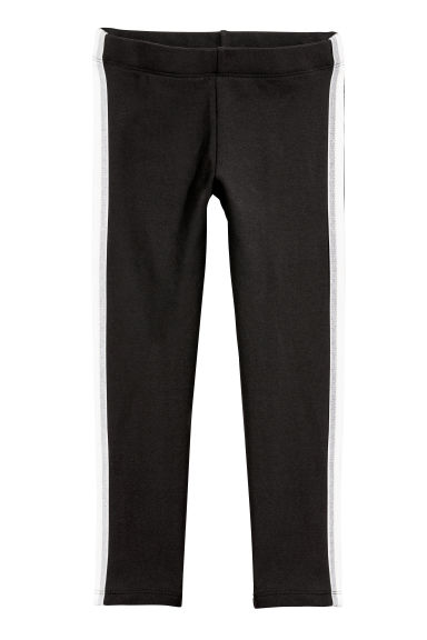 Sturdy jersey leggings - Black/Silver-coloured - Kids | H&M GB