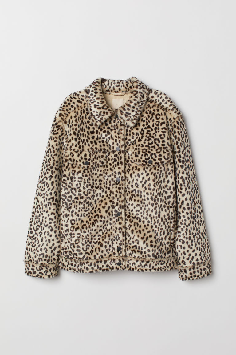 Faux fur jacket with a collar - Light beige/Leopard print - Ladies | H&M