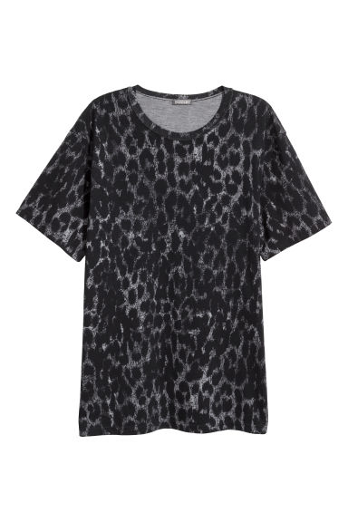 T-shirt with worn details - Dark grey/Leopard print -  | H&M GB